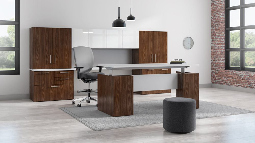 A height-adjustable desk allows employees to work standing or sitting for better health and improved ergonomics which leads to increased productivity.