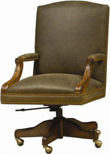 The Walpole by Woodland incorporates rich leather with solid wood for elevated office seating that makes a statement.